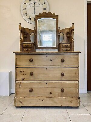 Antique Victorian Pine Dressing Table With Mirror