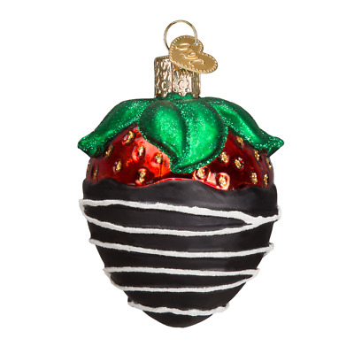 Old World Christmas CHOCOLATE DIPPED STRAWBERRY (28116)X Glass Ornament w/Box