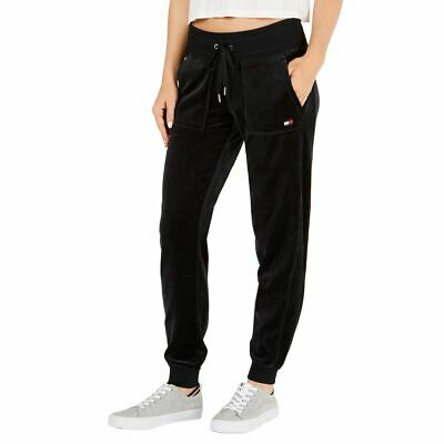 TOMMY HILFIGER SPORT NEW Women's Velour Front Pockets Track & Sweat Pants L TEDO