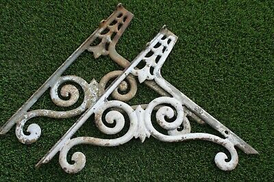 Pair Antique Victorian Planter Cast Iron Brackets Or Repurpose Garden Bench Seat