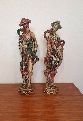 Male & Female Oriental Chinese Figures Statues
