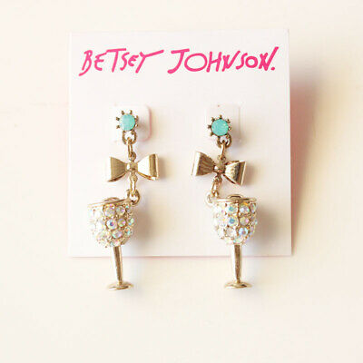 New Betsey Johnson Rhinestone Cup Drop Earrings Gift Fashion Women Party Jewelry