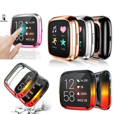 3 Pack Screen Protector Case Compatible w/ Fitbit Versa 2 Soft Full Cover Bumper