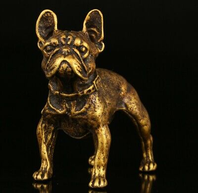 Rare Chinese Bronze Statue Animal Dog Solid Mascot Collection Gift