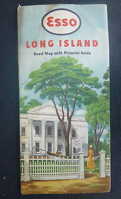 1949 1950 Long Island  road map Esso oil  gas pictorial guide New York