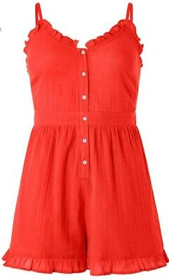 Monsoon Accessorize Beach Red Frill Playsuit Size Extra Large Bnwt Coral