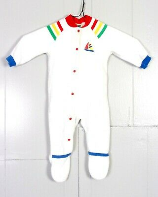 vtg 70s 80s Carter's Rainbow Striped Sailboat Terry Cloth Snap Bodysuit baby M