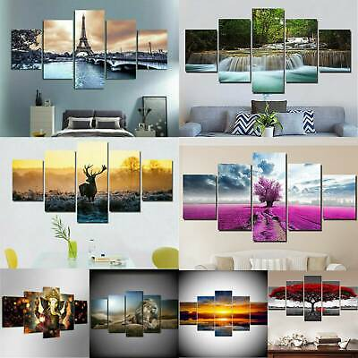 5 Panels Unframed Modern Canvas Art Painting Picture Wall Hanging Home Decor UK