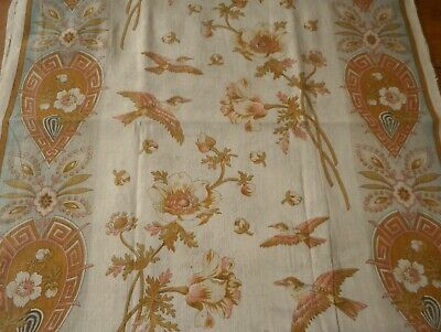 Rare Antique Art Nouveau Floral Bird Cotton Fabric Panel ~ Softened Ochre Rose