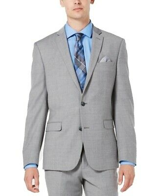 Bar III Mens Blazer Gray Size 34 Slim Fit Two Button Wool Notch-Collar $425 201