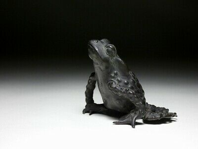 SUPERB Frog Suiteki water dropper Shodo Japanese Edo Original Antique ZEN Statue