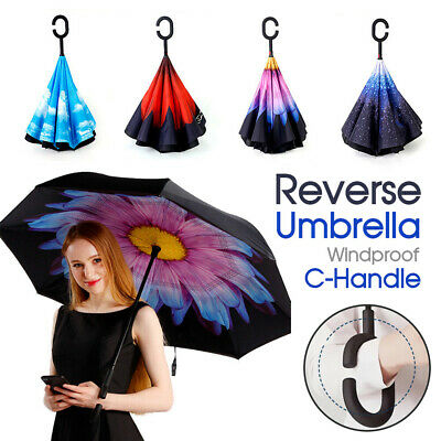 Windproof Upside Down Reverse Umbrella Double Layer Inside-Out Inverted C-Handle