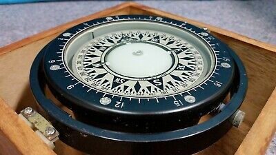 Saura Keiki Seisakusho Co Ltd Nautical Compass E3689 In Wooden Box