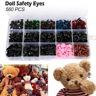 560PCS Colorful Safety Plastic Eyes Noses Washers for Teddy Bear Doll DIY Making