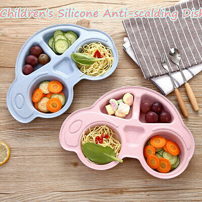 Baby Toddler Divided Plates Durable Cartoon Dinner Plate Non Slip Kids Tray