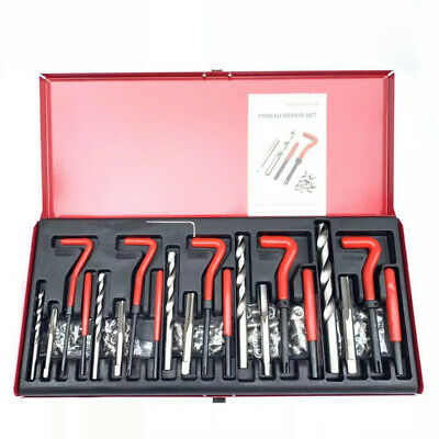 131 Pcs Steel Thread Rethread Repair Set M5 M6 M8 M10 M12 Helicoil Type Kit