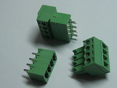 150 pcs Screw Terminal Block Connector 3.81mm 4 pin/way Green Pluggable Type New