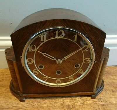 Antique Haller 1920's-1930's Art Deco Oak Westminster Mantel Clock -Key Pendulum