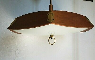 MCM Modern Teak and Brass Atomic Light Fixture 20 inches wide