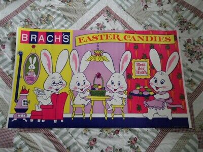 >orig. 1969 Brach's Candy 41x24 SIGN-Store Display EASTER BUNNY FAMILY, Nice!!