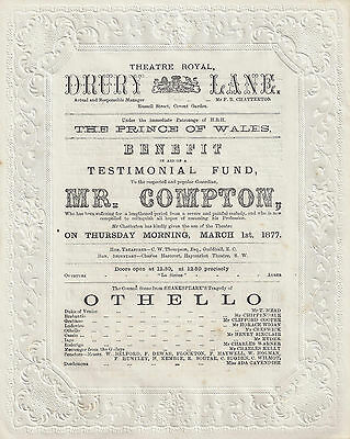 "Henry Compton ""OTHELLO"" Gilbert and Sullivan ""TRIAL BY JURY"" 1877 London Program"