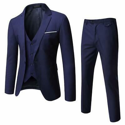 WULFUL Mens Suit Blue EUR Size XS 3 Piece Slim-Fit One-Button Solid $109- 937