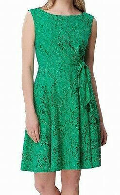 Tahari by ASL Womens Dress Green 14P Petite Lace Boat-Neck Fit & Flare $128 442