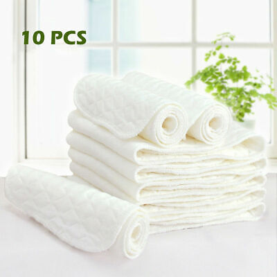 3 Layers 10PCS Cotton Reusable Baby Modern Cloth Diaper Nappy Liners insert US