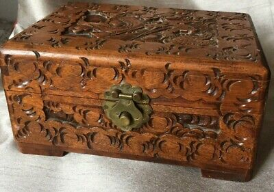 VGC East Asian Chinese Japanese Carved Dragon Wooden Cigar Box