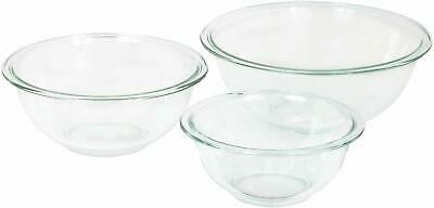 Glass Mixing Bowl Set 3 Pieces High Quality See Through Clear Dishwasher Safe
