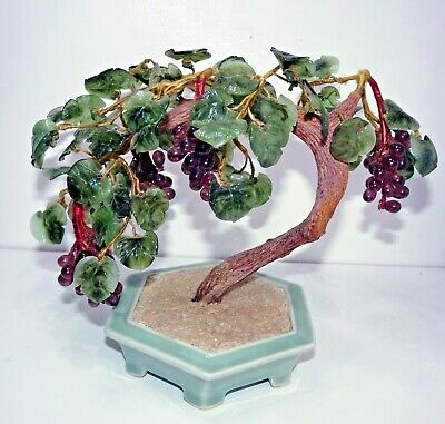 Large, Vintage CHINESE GLASS BONSAI TREE in CERAMIC POT, Koshu Grapes, Japanese