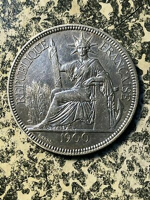 1900-A French Indo-China 1 Piastre Lot#JM1773 Silver! Nice!