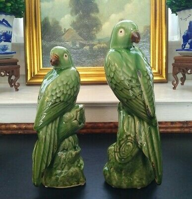Precious Pair Green Parrot Mantle Figurines Majolica British Colonial Style