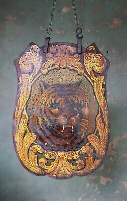 Early 20th Century Fairground Art Switchback Shield by Albert Howell Tiger Curio