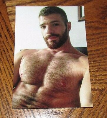 Shirtless Male Hunk Hairy Chest Beard Beefy Dude Smoking PHOTO 4X6 D1072