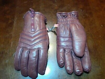 Vintage KOMBI TAN LEATHER Insulated Winter Gloves With Zipper - Woman's Medium