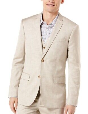 Perry Ellis Mens Suit Separates Beige Size 42 Two Button Textured $185 122