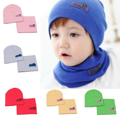 Girls Boys Winter Beanie Warm Hat Hooded Scarf Knitted Wool Baby Toddler Cap