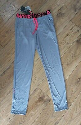 BNWT Girls Under Armour Grey Heat Gear Leggings Joggers Size Large Womens Small