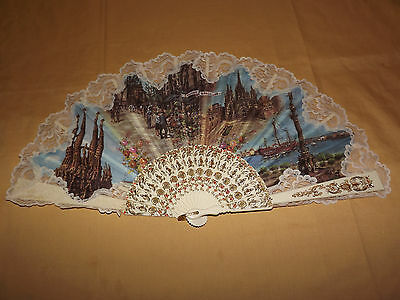 "Vintage Old Record De Barcelona Market Square  Large 14"" High  Hand Fan"