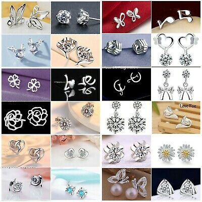 Genuine Sterling Silver 925 Stud Earrings, Cubic Zirconia Earring Crystal Womens
