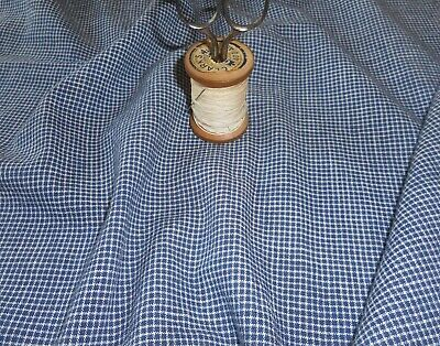Antique Primitive Small Scale Indigo Blue Homespun Check Cotton Fabric ~ dolls