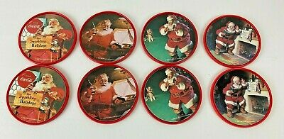 Set of 8 1992 Coca-Cola Plastic Coasters Santa Claus Christmas/4 Designs