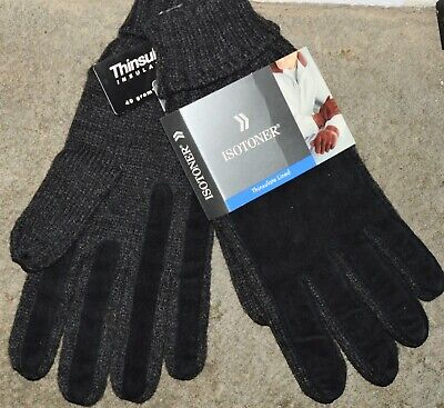 ISOTONER NEW vintage 1999 NIB Gloves Lined Knitted Leather Black ONE SIZE