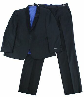 London Fog Mens Suits Black Size 36 Shawl-Collar One-Button 2 Piece $299 935