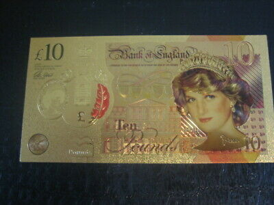 New 24K Gold Lady Diana £10 Ten Pound Colourised Banknote Note + Wallet + Coa