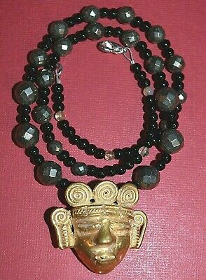 Artisan Casted Pre Columbian Gold Washed Replica Tairona Shaman Mask On Necklace