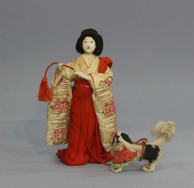 Japanese Antique Kimono Lady doll Meiji Era with Japanese Dog chin 26cm Used