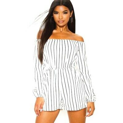 """Pretty little thing Black And White Striped """"Kennie playsuit"""" (size 6-8)"""