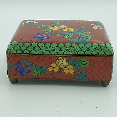 Antique CHINESE CLOISONNE Red ENAMEL FLOWER HUMIDOR FOOTED JAR Trinket BOX